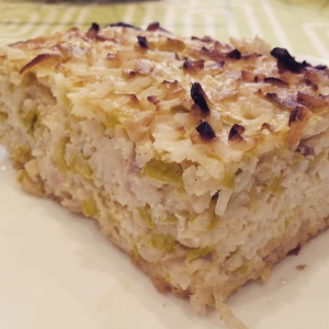 receta pastel arroz salado puerro